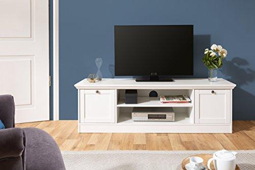 Inter Trade TV Lowboard weiß | Landhaus | inkl. Kabeldurchlass | umlaufende Profilleiste | Metallgriffe in Antik-Optik