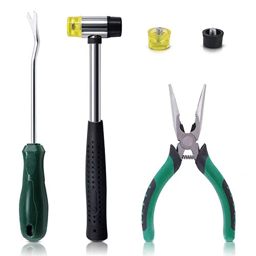 Keadic 5pcs Upholstery Tacks Tools Set, Double-Faced Upholstery Mallet with 2 Replacement Rubber Heads, Staple Lifter and Removal Pliers, for Furniture Repair and Jewelry Craft Decoration Project