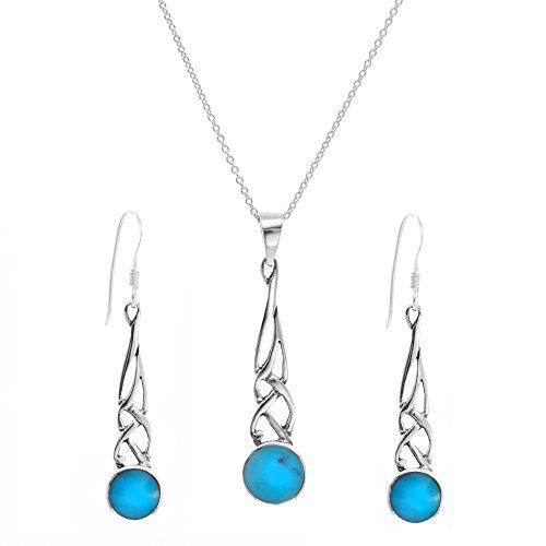 Silverly Frauen .925 Sterling Silber Simulierte Türkis Keltisch baumeln Ohrringe Halsketten Satz, 46 cm