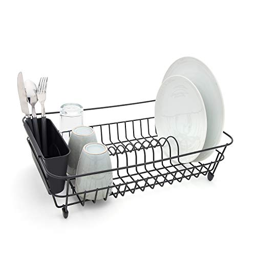 simplywire - Black Dish Drainer with Cutlery Basket - Anti Rust