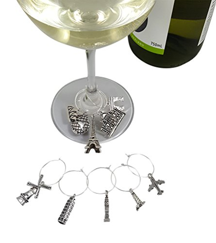 Deluxe Wine Charm Set – 28 Pieces Total includes Beach, Wine Lover, and World Traveler Themes