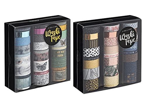 Craft Sensations Ruban adhésif décoratif pour scrapbooking, artisanat et Bullet Journals, 2 boîtes de 24 rubans Washi différents pour tous les passionnés de bricolage et motifs assortis