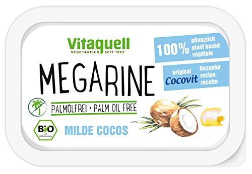Vitaquell Megarine Milde Cocos Bio, 250 g - Pflanzen-Margarine palmölfrei mit frischem Geschmack nach Kokos