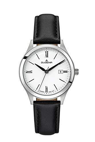 Dugena Herren Armbanduhr Senator Leder 37mm schwarz/silber