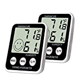 SoeKoa Digital Thermometer Indoor Hygrometer Humidity Meter Room Temperature Monitor Large LCD Display Max/Min Records for Home Car Office (2 Pack)