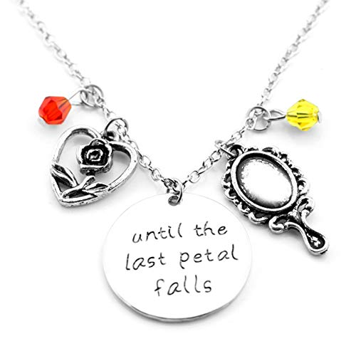 FYWEITM Collar, Joyas Colgante La Bella y la Bestia Colgante de Metal Collar Vintage Mujer Collar Cadena Cristal Vela Flagon Reloj Colgante Collar Joyas Regalo