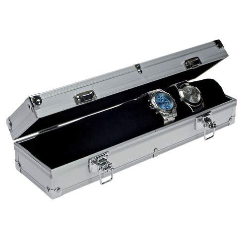 SAFE 255 Boîte de rangement en aluminium pour 7 montres   avec rouleau de velours noir comme porte-montre   couvercle transparent   330 x 75 x 90 mm