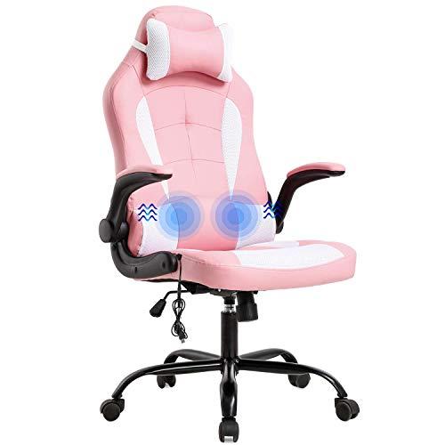 Silla de oficina para juegos, silla de escritorio, de masaje, ergonómica, de piel sintética, con apoyo lumbar, reposabrazos, silla giratoria de carreras para mujeres y adultos, color azul y rosa