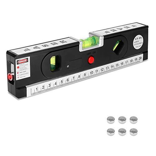 yidenguk Laser-Wasserwaage, 8 Zoll/ 25cm Mehrzweck-Lineal für die Wasserwaage mit LED-Licht und 5ft/1.5m Maßband, Hochgenaues Messwerkzeug (Batterie enthalten)