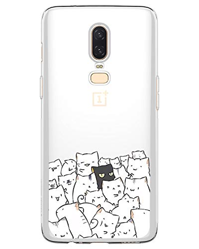 AIsoar Compatible/Replacement pour Coque OnePlus 6T,Ultra Flex Series Housse de Protection Souple avec Protection Flexible et Crystal TPU Premium pour OnePlus 6T (Chat (2))