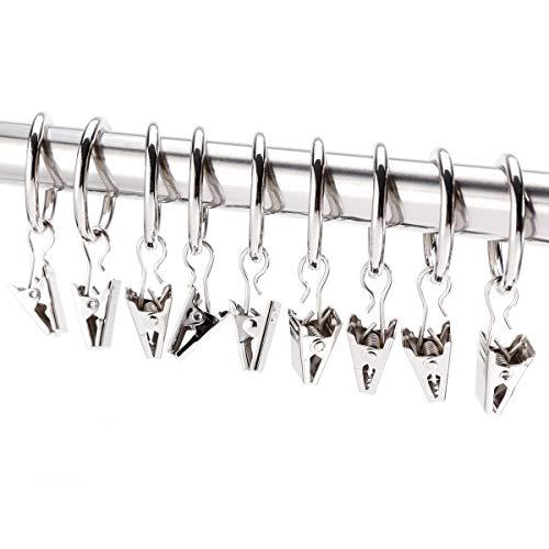 Hamimelon 30 Stück 25mm Verbindungselemente Gardinenringe Vorhangringe mit Clips Hängende Ringe Gardinenhaken Silber