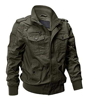 EKLENTSON Mens Fall Jacket Cargo Green Jacket Utility Jacket Men Military Jacket Army Coat Men Green