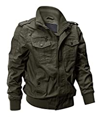 Material: Shell: 100% cotton, lining: 100% polyester. Size: Standard US size, please select it according to your usual size Double Closure: Millitary cargo jackets with durable full-length zipper closure as well as button closure for extra protection...
