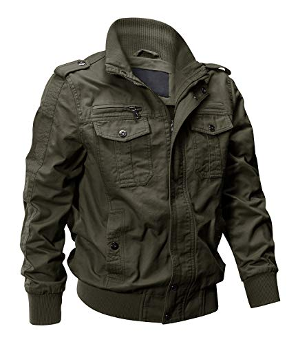 EKLENTSON Mens Fall Jacket Cargo Green Jacket Utility Jacket Men Military Jacket Army Coat Men Green