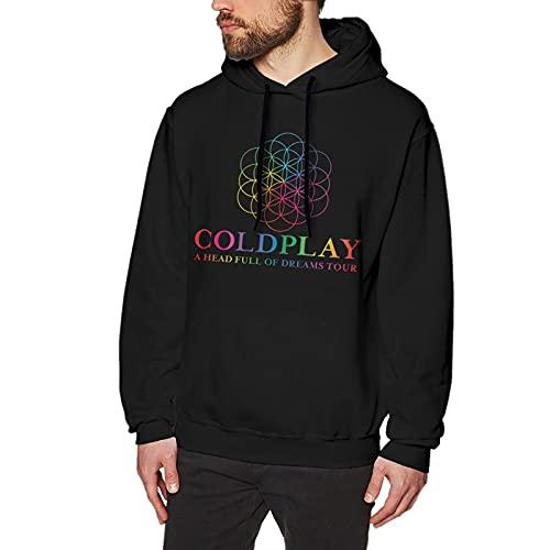 EDGHUOEIH Coldplay A Head Full of Dreams Tour Herren Fashion No Pocket Hoodie Sweatshirt, Schwarz , S