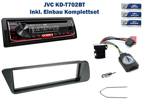 Autoradio Einbauset geeignet für Peugeot 306 inkl. JVC KD-T702BT & Lenkrad Fernbedienung Adapter in Schwarz