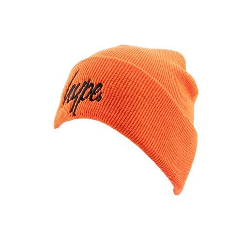 Hype Bonnet à Revers Script Orange et Noir - Mixte