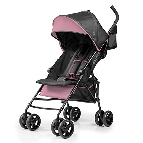 Summer 3Dmini Convenience Stroller, Pink – Lightweight Infant Stroller with Compact Fold, Multi-Position Recline, Canopy with Pop Out Sun Visor and More – Umbrella Stroller for Travel and More