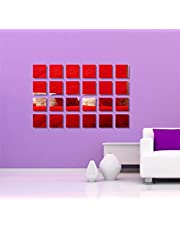 Naveed Arts - Acrylic Red Mirror Sticker Square. 24 Piece Set - Larger Size, JB018RM Naveed Arts Factory Outlet
