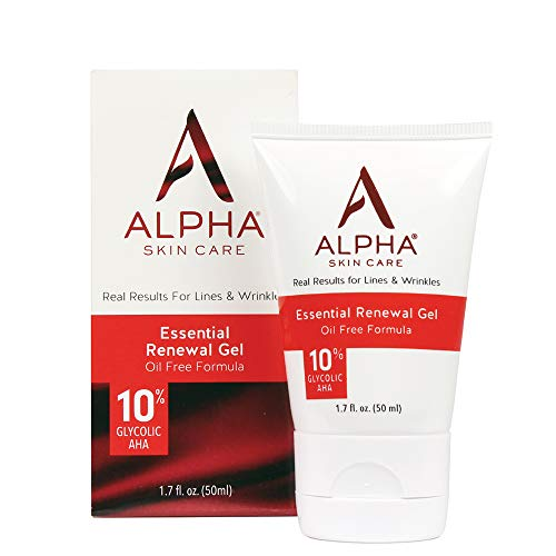 Alpha Skin Care Essential Renewal Gel   Anti-Aging Formula   10% Glycolic Alpha Hydroxy Acid (AHA)   Reduces the Appearance of Lines & Wrinkles   Oily & Breakout Prone Skin   1.7 Oz