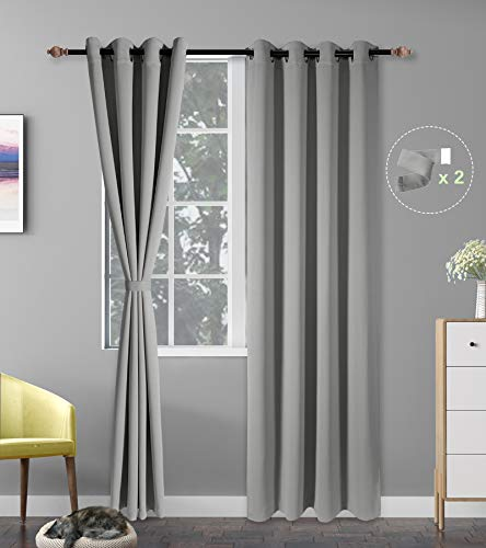 Blackout Curtains for Bedroom, Grey Black Out Bedroom Curtains 2 Panel Sets 95 inch Long Room Darkening Window Curtains Washable Grommet Curtains 52 inch Wide Drapes for Living Room with 2 Tiebacks