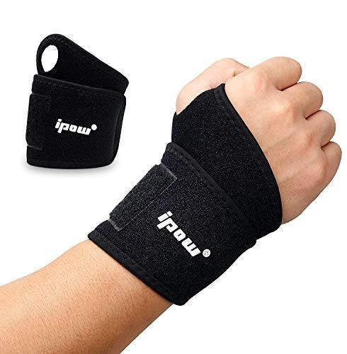 ipow [ 2er Set Handgelenkbandage Handgelenkstütze verstellbare atmungsaktive Handgelenk Unterstützung für Sport, Fitness & Bodybuilding - Schwarz