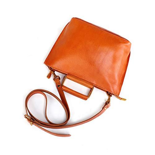 Ladies handbag Womens Leather Briefcase Handbags Cross Body Bag Messenger Bag Satchel Shoulder Casual For Daily Life Work women's shoulder bag (Color : Orange, Size : 27x10x18cm)