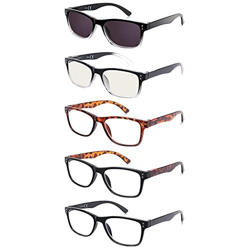 EFE Gafas de Lectura 5-Pack Hombres Mujeres para Leer Clara Gafas Aumento Lectura con Diseño de Bisagra de Resorte Rectángulo Estilo Ligeros Cómodos 2.5