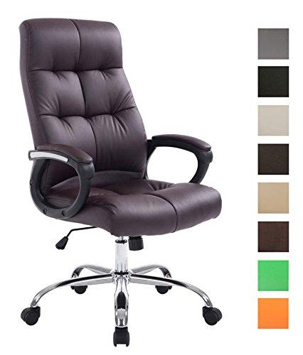 CLP XXL Bürostuhl Poseidon mit Kunstlederbezug   Höhenverstellbarer Drehstuhl mit Laufrollen   Chefsessel mit max.Tragkraft bis zu 160 kg Braun