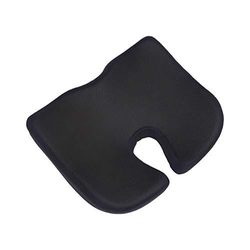 HEALLILY Cojín de Asiento de Espuma de Memoria Ortopédica Cojín de Asiento de Cóccix Almohada de Ciática para Silla de Oficina Sentado (Negro)