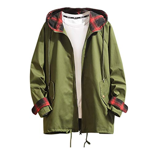 Komise Herren Herbst Winter Casual Mittellanger Hoodie Plaid Outdoor Windbreaker Coat