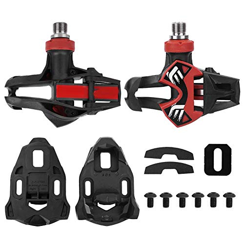 Find Discount Alomejor 1 Pair Red and Black Aluminum Alloy Bicycle Pedal Carbon Composite Pedal + 1 ...