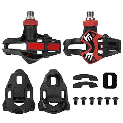 1 paar fietspedalen, aluminium pedalen Fietspedaal Carbon composiet pedaal en 1 paar slotplaat