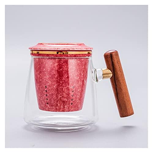 YUANLIN porzellantasse Kreative Hitzebeständige Glas Teetasse mit Keramikfilter und Cover Office Teesieb Tasse Paar Einfache Wasser Becher Drinkware porzellantasse Bone China (Color : Red)