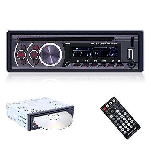 1 Din Autoradio con Lettore CD Podofo Bluetooth Ricevitore FM Radio per Auto Singolo Din Vivavoce con USB Micro SD Lettore MP3 AUX con Telecomando, 4x50W