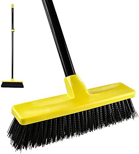 Sweeping Brush Outdoor Indoor Concrete Broom[2021 Upgrade] Telescopic Long Handle with Stiff...