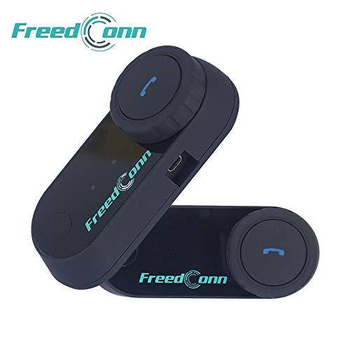 FreedConn Casco de la Motocicleta intercomunicador Bluetooth,Auricular Bluetooth de la Motocicleta walkie-Talkie, Motocicleta Auricular Bluetooth 800M, Esquiar Mejor Llamada(2 Pieza Cable Duro)