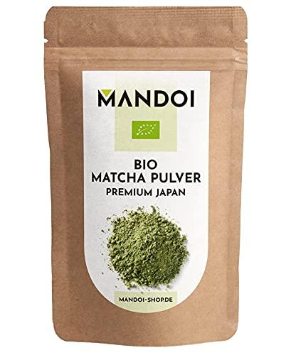 Mandoi BIO Matcha Pulver Japan, 100g. Feines Matchapulver / Grünteepulver ideal für Tee, Smoothies, Shakes oder zum backen