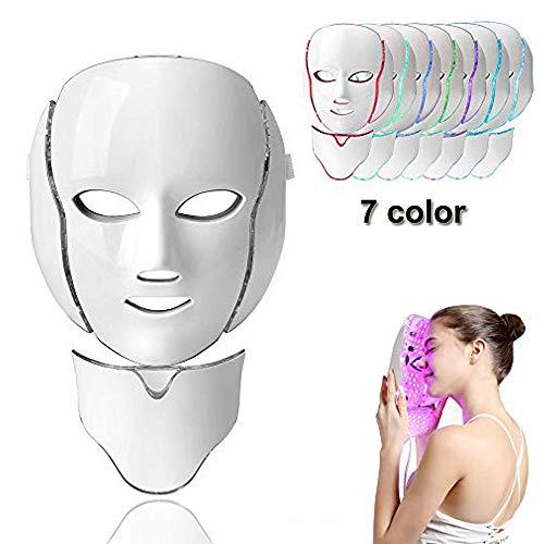 Jiuhuazi 7 Couleurs Photon LED Masque Machine Cou Masque de Beauté LED Proactive Peau Soins acné Kit pour Anti-Vieillissement Traitement Peau Rajeunissement Visage et Le Cou Beauté Dispositif