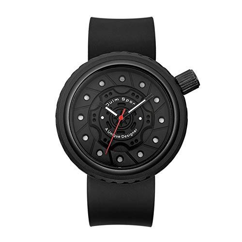 ZUKN Stilvolle Beiläufige Uhr Der Männer-Professionelle Wasserdichter Sport Herrenuhr Reifen-Design-Quarz-Bewegungs-Silikon-Bügel-Uhr,Schwarz