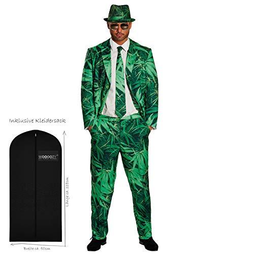 WOOOOZY Herren-Kostüm Hanf-Anzug, Grüntöne, Gr. 56-58 - inklusive praktischem Kleidersack