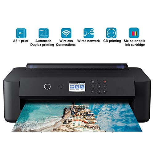 Find Discount TANCEQI Multifunction Color Inkjet Printer (6 Color, A3, 5760 × 1440Dpi, CD/DVD Printing, ESC/P-R, LCD Screen 2.4″/6.1Cm), Black