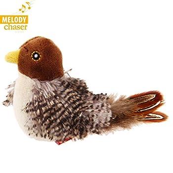 Vealind GiGwi Melody Chaser Jouet Interactif en Peluche pour Chiens et Chats (Oiseau)