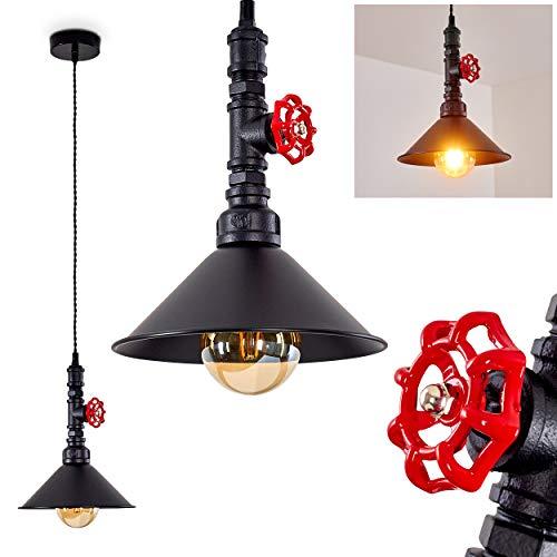 Pendelleuchte Helikon, Hängelampe aus Metall in Schwarz/Rot, 1-flammig, 1 x E27 max. 60 Watt, Höhe max. 138 cm, runde Hängeleuchte im Retro/Vintage-Desgin, LED geeignet