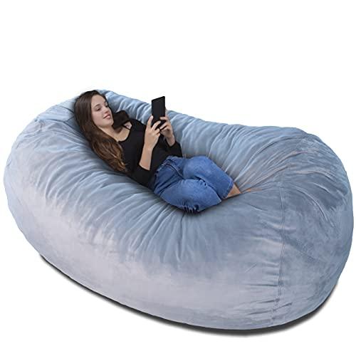 Poltrona-sacco Bean bag XXL Velluto Grigio Argento – Rivestimento con imbottitura memory- Un letto enorme, un grande divano, un materasso dove rilassarsi – bambini adulti e ragazzi la adorano!
