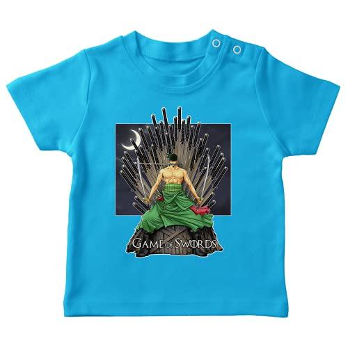 OKIWOKI Maglietta Turchese bebè parodia One Piece - Il Trono di Spade - Roronoa Zoro X Eddard Stark - (T-shirt di qualità premium in taglia 18 mesi - Stampata in Francia - Rif : 776)
