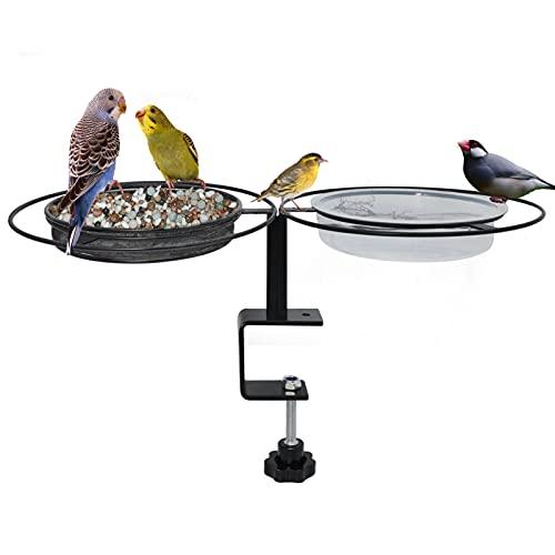 Bebedero para pájaros, balcón, comedero para pájaros, barandilla de balcón, soporte para balcón, diámetro de 24 cm, bebedero para pájaros, comedero, balcón, casa para pájaros