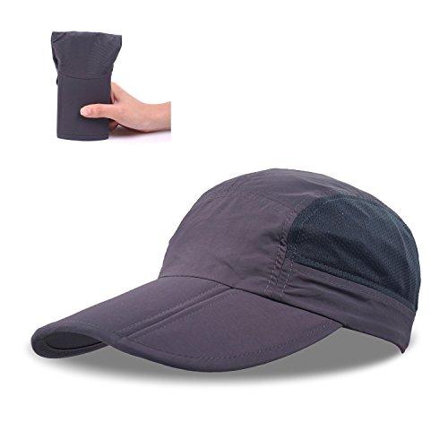 ZEARE Schnell Trocknende wasserdichte Breathable Hut-faltende Baseballmütze Sonnenhut-leichte Fernlastfahrer-Hut-Sport-Kappe Unisex (Tiefgrau)