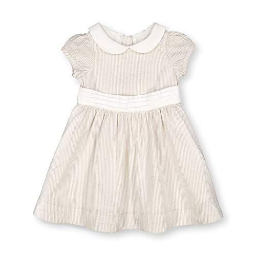 Hope & Henry Layette Baby Girl Woven Short Sleeve Dress with Peter Pan Collar Khaki
