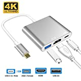 type-c to HDMI 変換アダプタ4K + 3D 解像度 対応Switch MacBook 3in1 Type-C to HDMI多機能変換アダプ USB C充電対応 日本語取説付き
